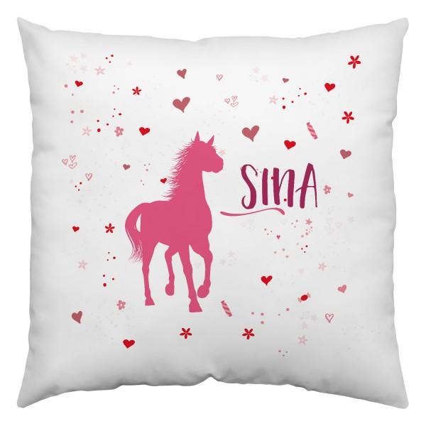 Kissen Pferdefreunde | Bedruckt | Personalisiert | Weiß