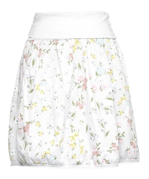 Ballonrock | Baumwolle Blumenprint | Bund dehnbar 66-110cm | Farbe Weiß-geblümt