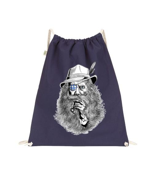 Beuteltasche   Gym Bag   Turnbeutel   blau - schwarz   Motiv: Seppl-Peter