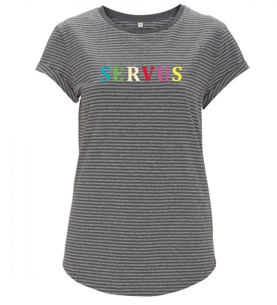 Damen T-Shirt gestreift Motiv: SERVUS - GOTS zertifiziert / vegan