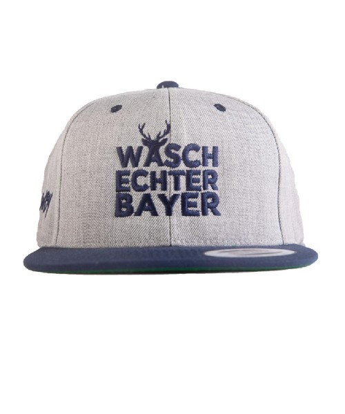 "Snapback Caps Flexfit ""Waschechter Bayer"" grau-blau"