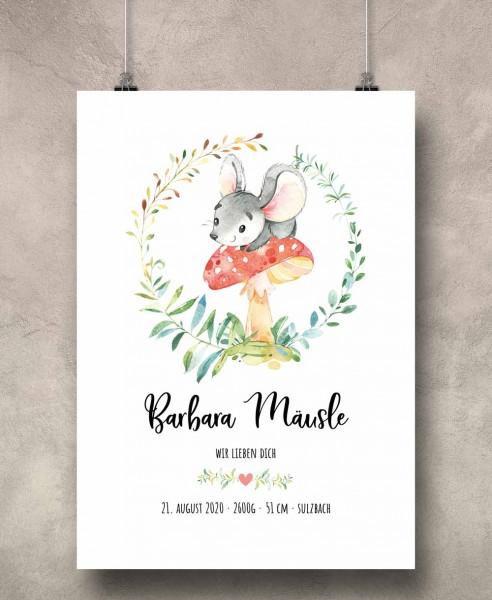 Geburtsposter Motiv: Mäusle (personalisiert) 30x40cm Baby-Geschenk | Taufe | Geburtstag