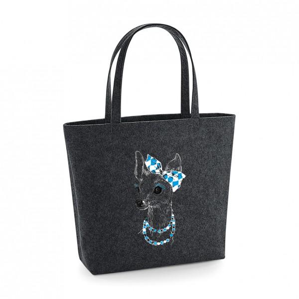 Filz Tasche grau   Einkaufstasche   Motiv: Bixn