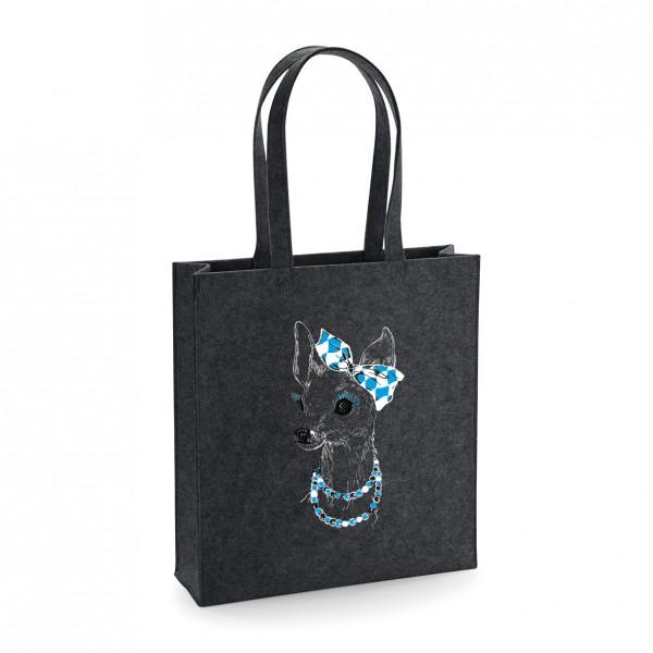 Filz Tasche grau | Einkaufstasche | Motiv: Bixn-Hoch