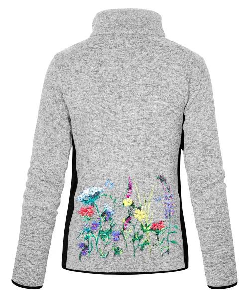 Stehkragenjacke Damen | Strickfleece | 300 g/m² | Motiv: Blumenwiese