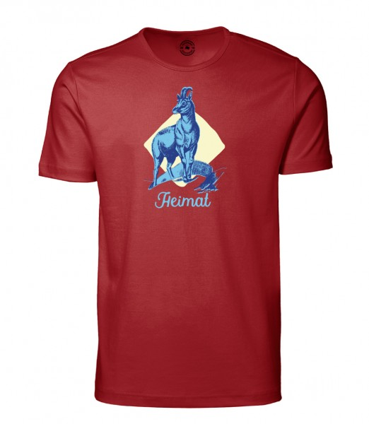 Herren Rundhals Shirt | Kurzarm – Interlock Jersey Motiv: Gams Heimat