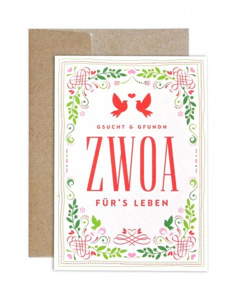 Hochzeitskarte - Unzertrennlich Zwoa farbig