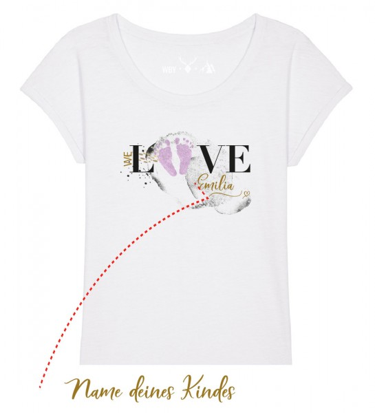 Geburts-Shirt personalisiert Name des Kindes | Fair Wear | BIO | Motiv: Love-Rosa