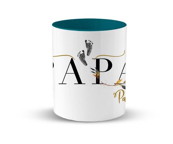 Personalisierte Tasse mit Kindername Geburtsgeschenk | in 2 Farben | Motiv: Papa