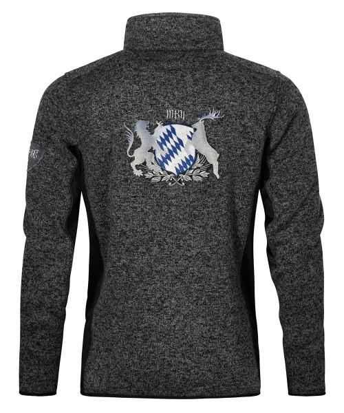 Stehkragenjacke Herren | Strickfleece | Motiv: Bayern-Wappen