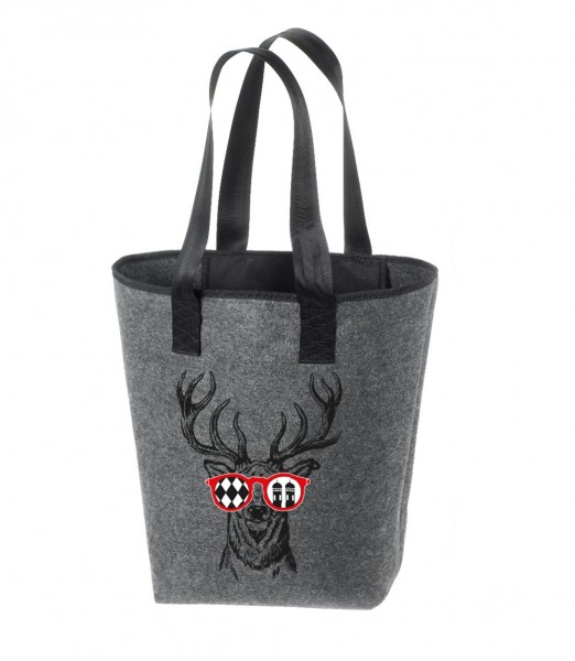 Filz Tasche grau | Hochwertig | Bedruckt mit Munich Deer