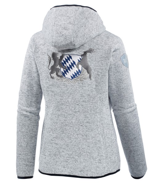 "Personalisiert - Hellgraue Strickfleecejacke ""Bavarian"""