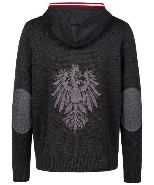 Strickjacke Herren | Kapuze | Österreich-Adler grau | Regional gefertigt | Modell: Armin