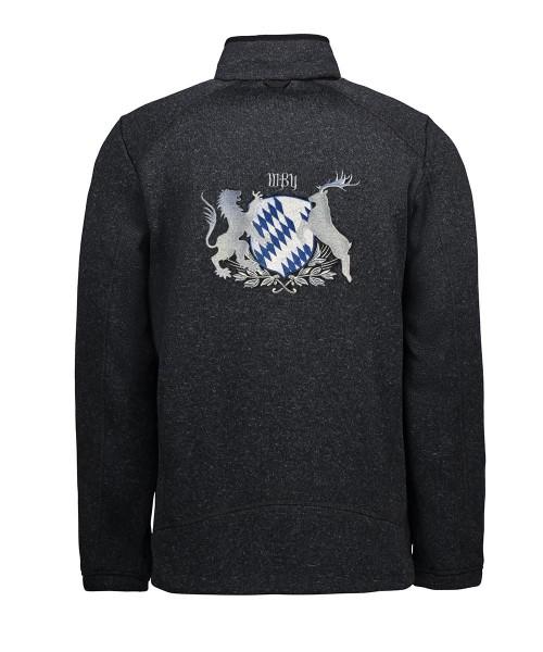 Stehkragenjacke Herren | Strickfleece 2XL-4XL | Motiv: Bayern-Wappen