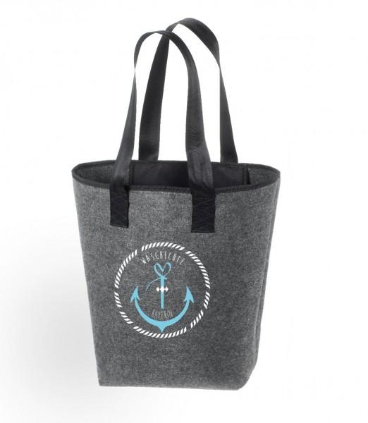 Filz Tasche grau | Hochwertig | Bedruckt mit Anker Waschechte Bayerin
