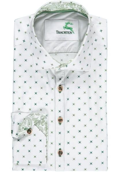 Trachtenhemd grün | Langarm | Slim Fit | Hirsch gemustert