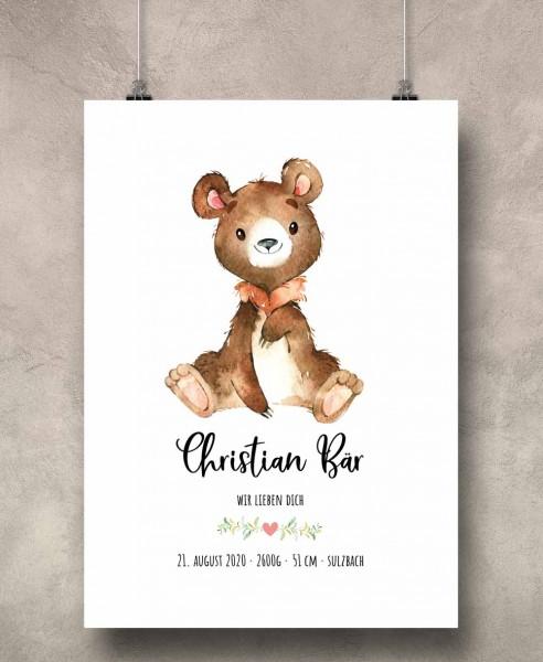 Geburtsposter Motiv: Bär (personalisiert) 30x40cm Baby-Geschenk | Taufe | Geburtstag