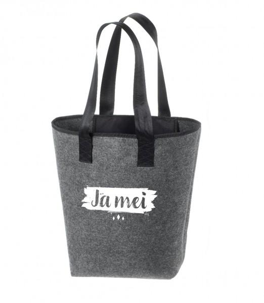 Einkaufstasche Filz groß grau Shopper   Hochwertig   44x26cm Motiv Ja-Mei