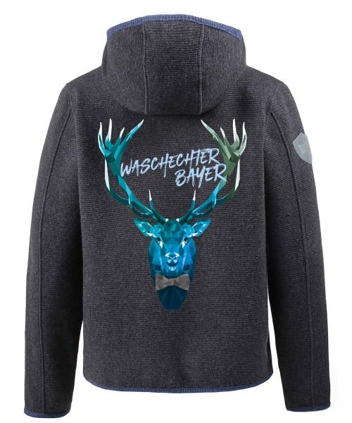 """Personalisiert - Softshell Janker grau-blau """"Walter Poly Deer"""""""