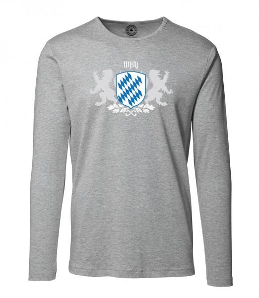 Herren Rundhals Shirt | Langarm – Interlock Jersey Motiv: Bayern Wappen