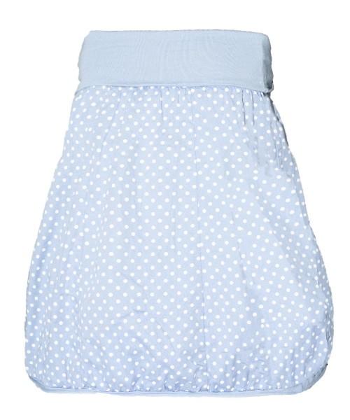 Baumwollrock hellblau mit weißen Punkten One-Size Damen Rock