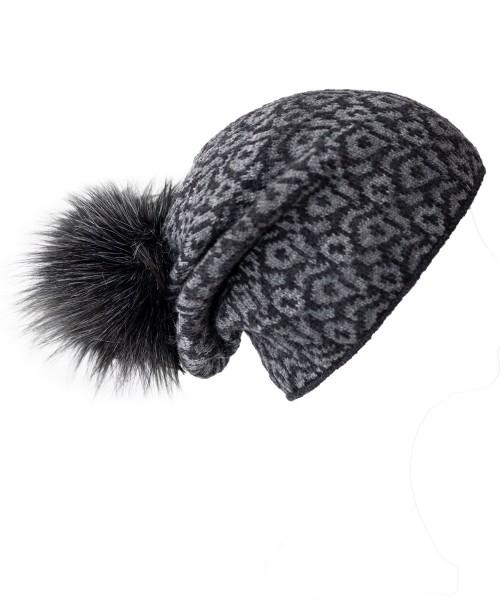 Leopardenmütze mit Fleece und Fakefur Bommel