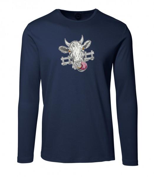Herren Rundhals Shirt | Langarm – Interlock Jersey Motiv: Muh-Kuh