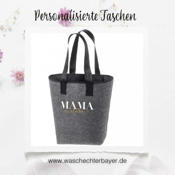 Filz-Tasche grau groß Shopper (personalisiert) | 44x26cm Motiv Mama & Co. (hochwertig)