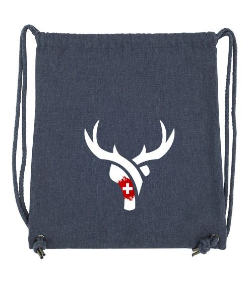 Beuteltasche | Gym Bag | Turnbeutel | Fair Wear | Nachhaltig | Motiv: Schweizer Hirschli