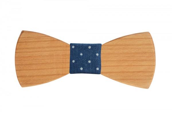 Holzfliege | Handgefertigt | Nußholz | Modell: Blau-Gepunktet