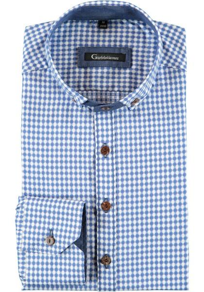 Trachtenhemd blau-karo   Langarm   Slim Fit   Bayern-Muster