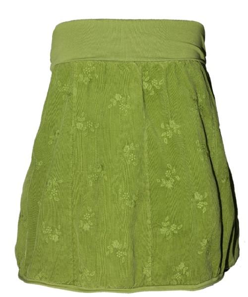Ballonrock | Baumwolle-Cord-Optik | Bund dehnbar 66-110cm | Farbe Apfelgrün