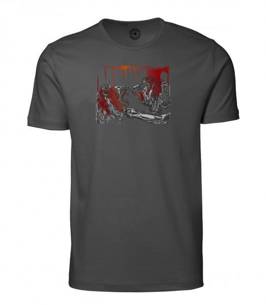 Herren Rundhals Shirt | Kurzarm – Interlock Jersey Motiv: Löwen Kampf
