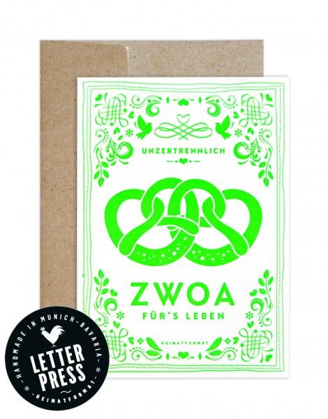Hochzeitskarte - Unzertrennlich Zwoa