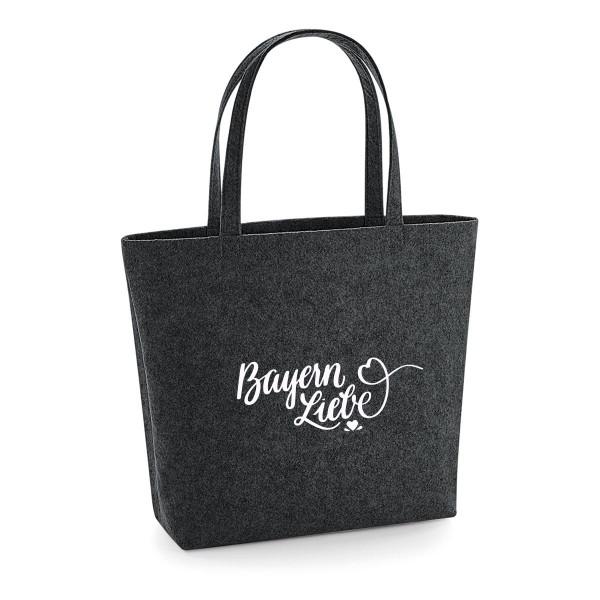 Filz Tasche grau | Einkaufstasche | Motiv: Bayernliebe