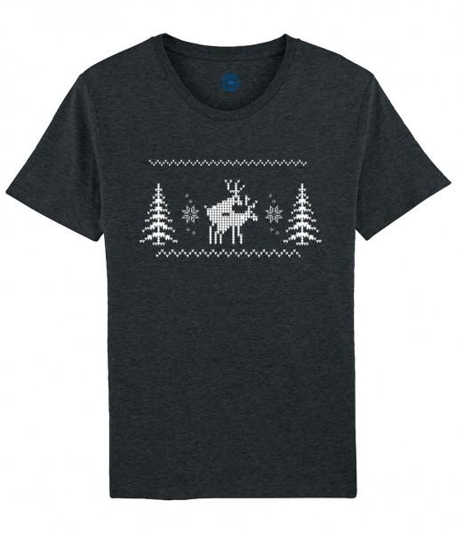 Herren T-Shirt Rundhals | X-Mas Shirt | Motiv: Happy-Deers