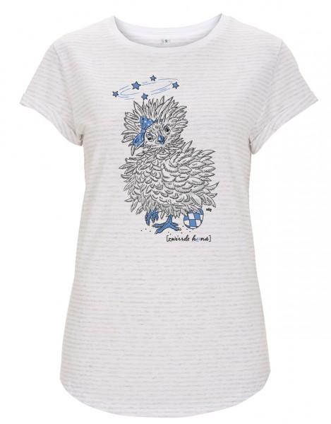 Damen T-Shirt gestreift Motiv: Zwirrde Henne - GOTS zertifiziert / vegan