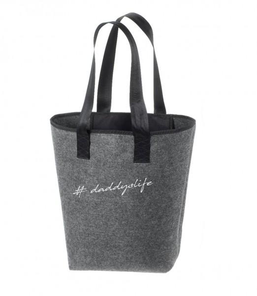 Einkaufstasche Filz groß grau Shopper | Hochwertig | 44x26cm Motiv Daddyslife