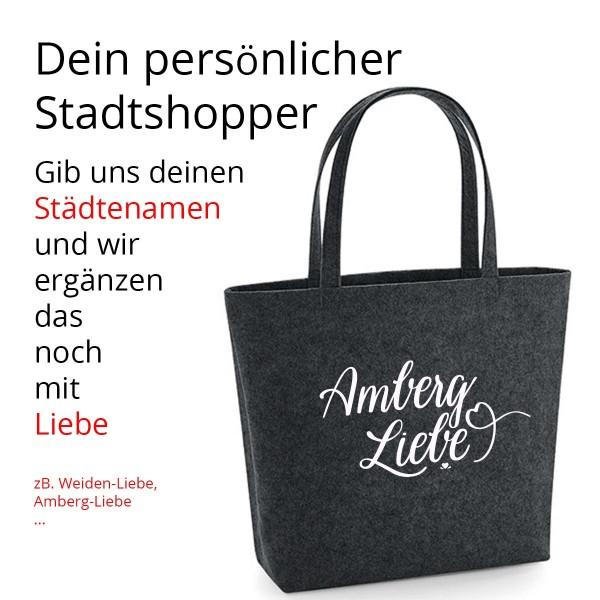 Filz Tasche grau | Einkaufstasche | Motiv: Städte-Tasche - Wunschstadt