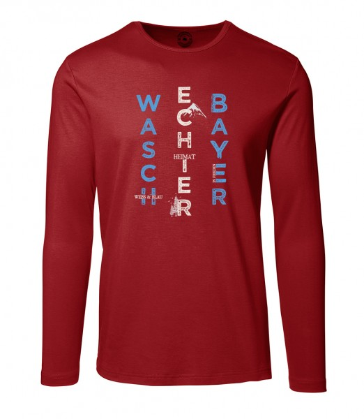 Herren Rundhals Shirt   Langarm – Interlock Jersey Motiv: Bayern Berg