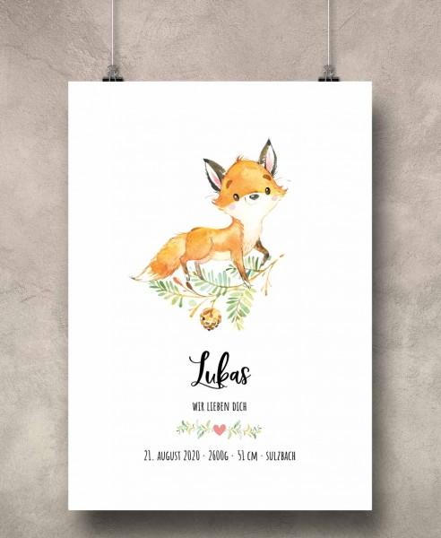 Geburtsposter Motiv: Fuchs (personalisiert) 30x40cm Baby-Geschenk | Taufe | Geburtstag