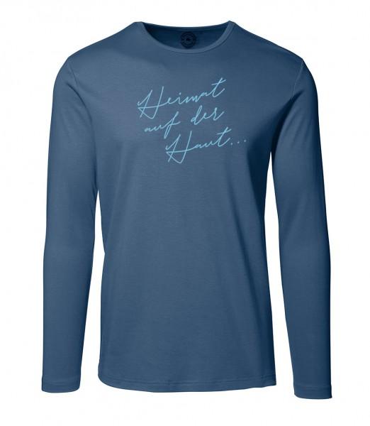 Herren Rundhals Shirt | Langarm – Interlock Jersey Motiv: Heimat auf der Haut