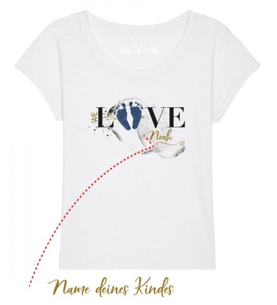 Geburts-Shirt personalisiert Name des Kindes | Fair Wear | BIO | Motiv: Love-Blau