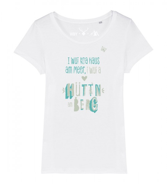 Damen Rundhals T-Shirt | Fair Wear | Motiv: Huetten am Berg