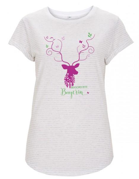 Damen T-Shirt gestreift Motiv: Keila - GOTS zertifiziert / vegan