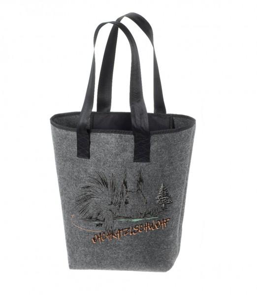 Einkaufstasche Filz groß grau Shopper | Hochwertig | 44x26cm Motiv Oachkatzl