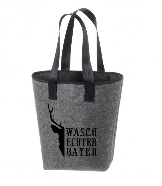 Einkaufstasche Filz groß grau Shopper   Hochwertig   44x26cm Motiv Waschechter Bayer 3er Pack