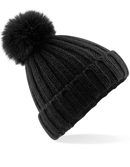 Mütze Bommel Fake Fur – Schwarz