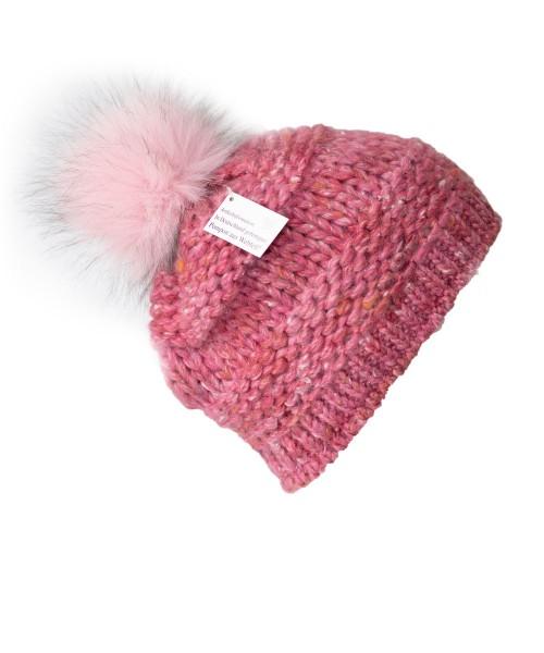 Mütze Pink | Fleeceband | Rosa | Pompon
