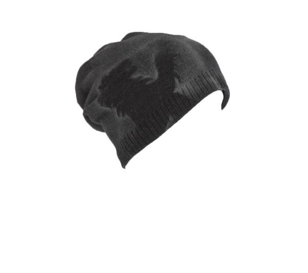 Strickmütze dunkelgrau Löwenkopf